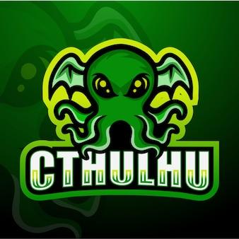 Illustrazione verde dell'esport della mascotte di cthulhu