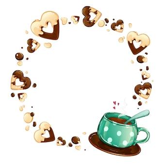 Una tazza verde a pois con tè caldo, una cornice rotonda di biscotti al cuore