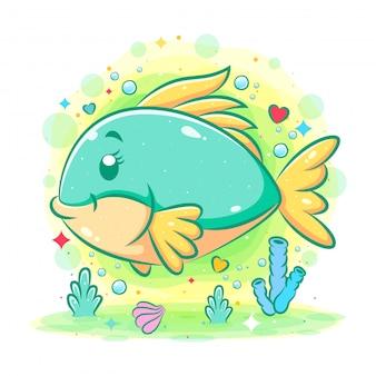 Il simpatico pesce verde nuota sotto il mare dell'illustrazione