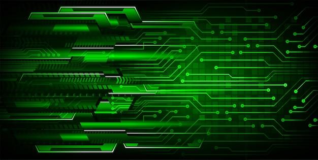 Sfondo di tecnologia futura del circuito cyber verde