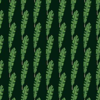Modello di natura senza cuciture di toni scuri verdi con ornamento di foglie tropicali botaniche. contesto della giungla della natura.