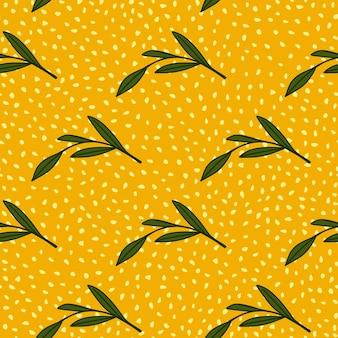 Modello senza cuciture degli elementi dei rami delle foglie diagonali verdi