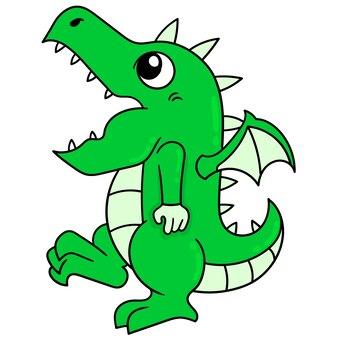 Dinosauro verde che si comporta in modo divertente camminare strano, illustrazione arte vettoriale. scarabocchiare icona immagine kawaii.