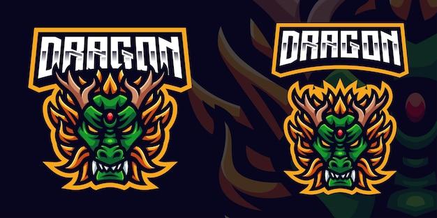 Modello di logo della mascotte di gioco del drago verde per lo streamer di esports facebook youtube