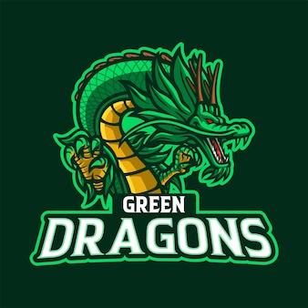 Disegno del logo della mascotte del drago verde
