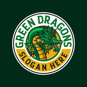 Illustrazione del logo della mascotte del drago verde