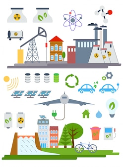 Elementi di infografica città eco verde