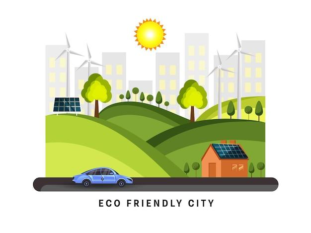 Città eco verde con sfondo paesaggio naturale.