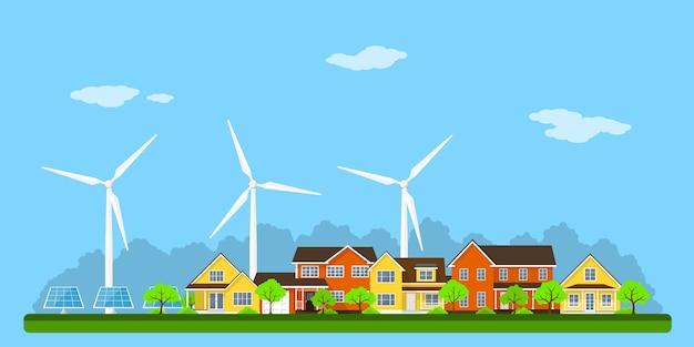 Città eco verde con case private, case a pannelli, turbine eoliche e pannelli solari, concetto di stile per le energie rinnovabili e tecnologie ecologiche