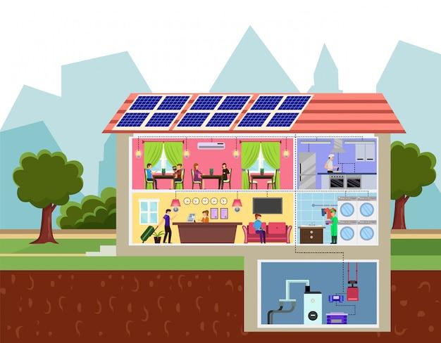 Tecnologia verde di eco nel concetto della costruzione dell'hotel