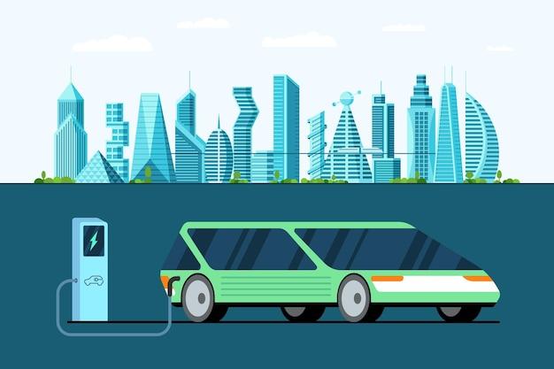 Automobile elettrica verde alla stazione di ricarica di alimentazione sulla tecnologia moderna del veicolo della città futura