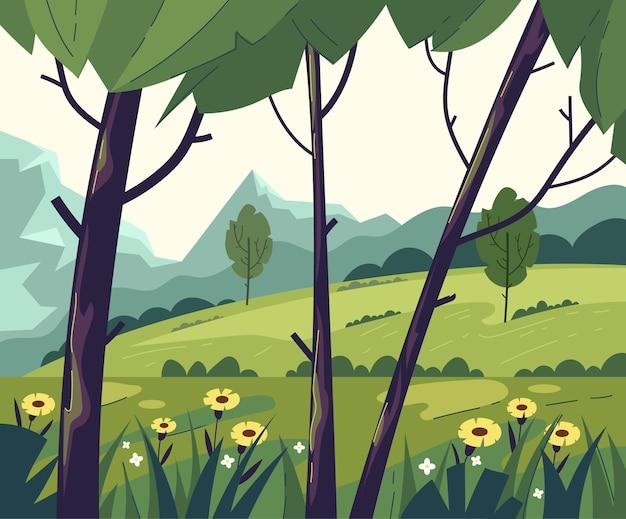 Verde albero vuoto campo montagna foresta natura concetto