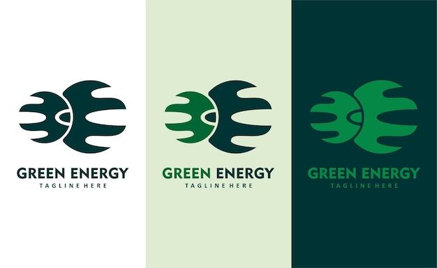Vettore di progettazione del logo della società di eco sostenibilità dell'energia verde