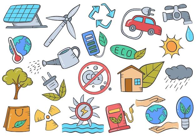 Collezione di set disegnati a mano di scarabocchio di ecologia di energia verde con illustrazione vettoriale di stile di contorno piatto