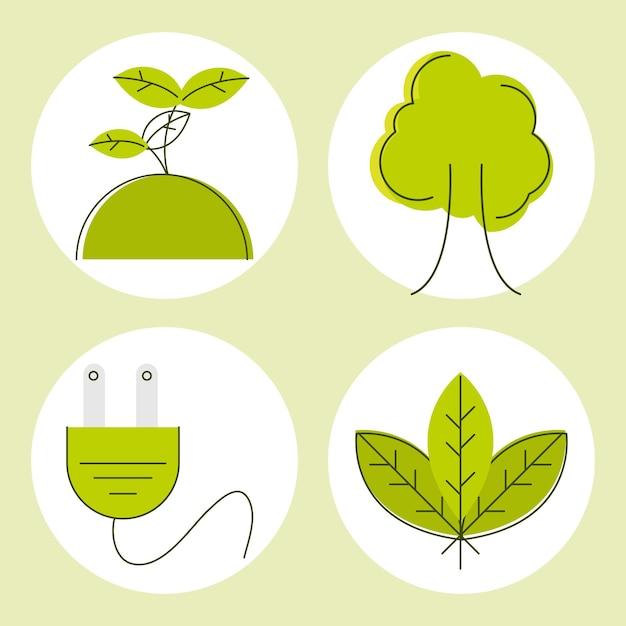 Icone di energia verde ed ecologia