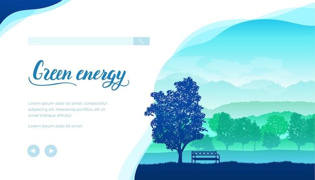 Modello di pagina di destinazione del vettore di energia verde. fattoria ecologica, layout piatto banner web villaggio.