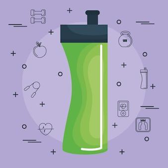 La bottiglia di esercizio verde con gli oggetti disegnati a mano si è riferita ad esercitare sopra il fondo di pruple. vettore i