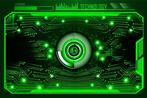 Fondo futuro di tecnologia del circuito cyber dell'occhio verde
