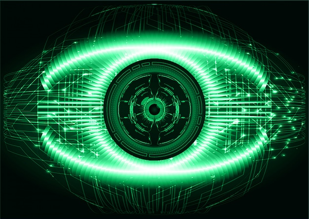 Concetto futuro di tecnologia del circuito cyber dell'occhio verde