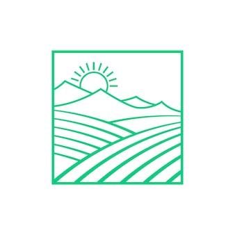 Campi verdi e montagne con il sole. concetto di scena estiva di campagna, viaggi ecologici, agronomia, confine. stile piatto tendenza logo moderno design grafico creativo illustrazione vettoriale su sfondo bianco
