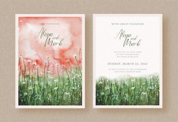 Giardino di fiori e foglie verdi con pittura ad acquerello di cielo rosso su invito a nozze