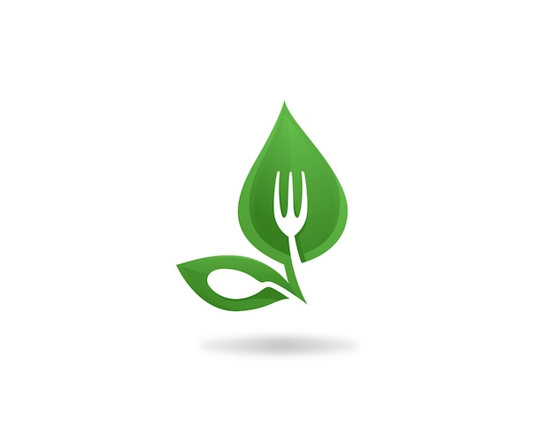 Cibo verde cibo sano e etichetta logo vegana