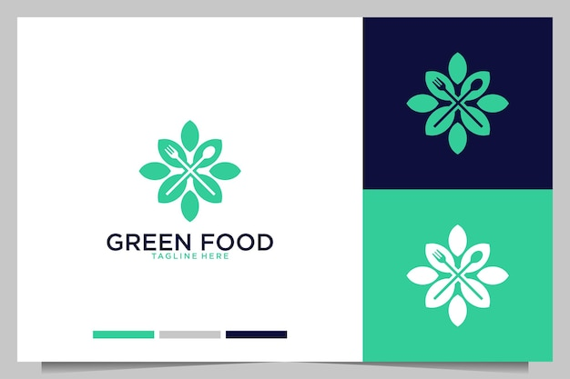 Ristorante di cibo verde con logo design forchetta e cucchiaio
