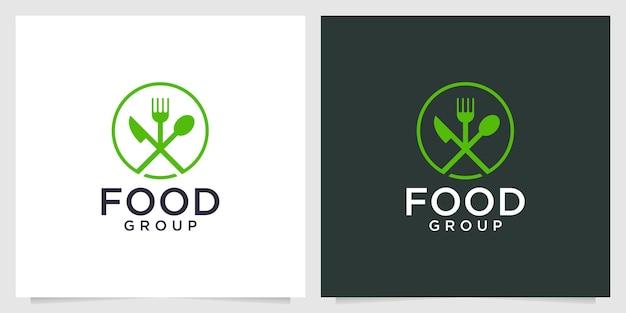 Cibo verde con design del logo cucchiaio e forchetta