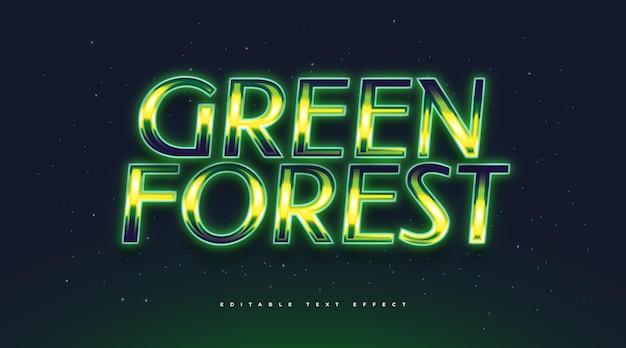 Testo della foresta verde con stile retrò ed effetto luminoso. effetto stile testo modificabile