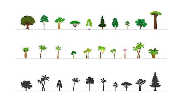 Set di alberi della foresta verde