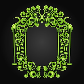 Cornice verde perfetta isolata sul nero