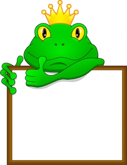 Fumetto della rana verde e segno in bianco