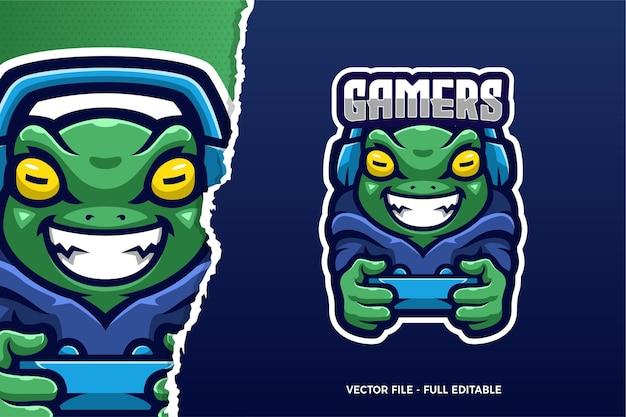 Green frog esports game logo modello
