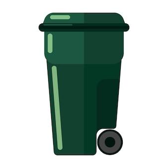 Pattumiera verde su sfondo bianco isolato. contenitori di plastica per la spazzatura semplice icona nell'illustrazione vettoriale di stile piatto.