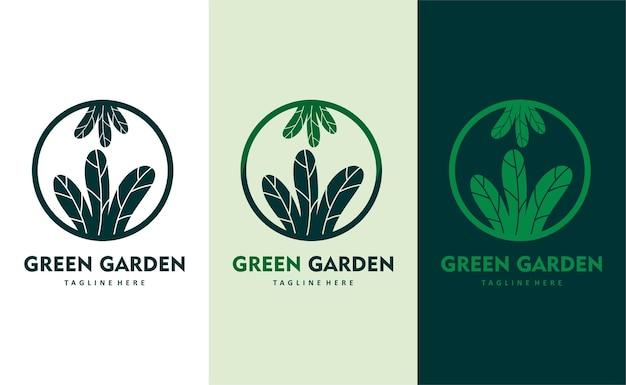 Vettore di progettazione del logo dell'azienda di ecosostenibilità del giardino verde