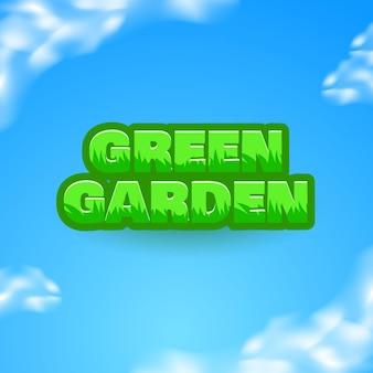 Effetto di testo del titolo del logo del gioco del fumetto divertente del giardino verde