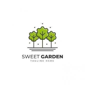 Modello di logo del giardino verde