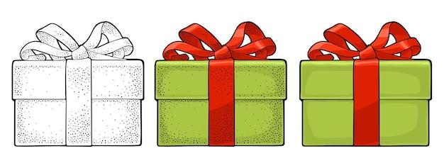 Confezione regalo verde per biglietto di auguri di buon natale e felice anno nuovo incisione vettoriale e piatto