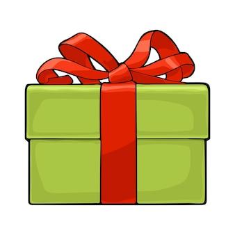 Scatola regalo verde con nastro rosso e fiocco. per un poster o un biglietto di auguri di buon natale e felice anno nuovo. isolato su sfondo bianco. illustrazione di colore piatto vettoriale.