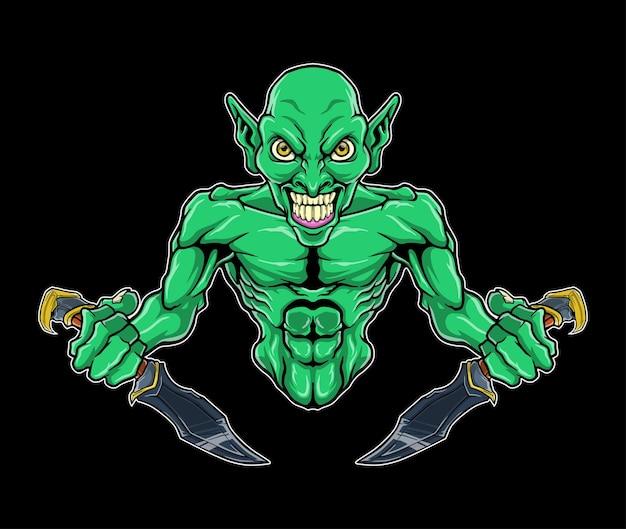 Opera d'arte dell'illustrazione del logo a mezzo busto di green goblin