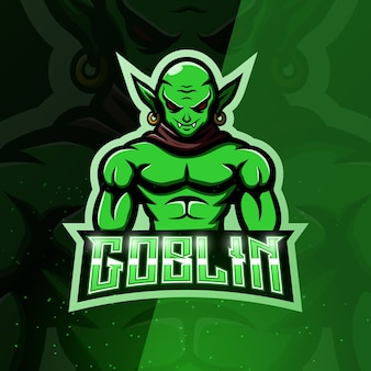 Illustrazione di esport della mascotte del goblin verde