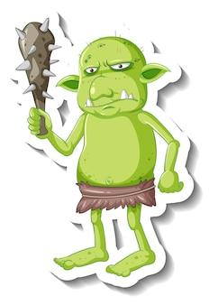 Adesivo personaggio dei cartoni animati goblin o troll verde