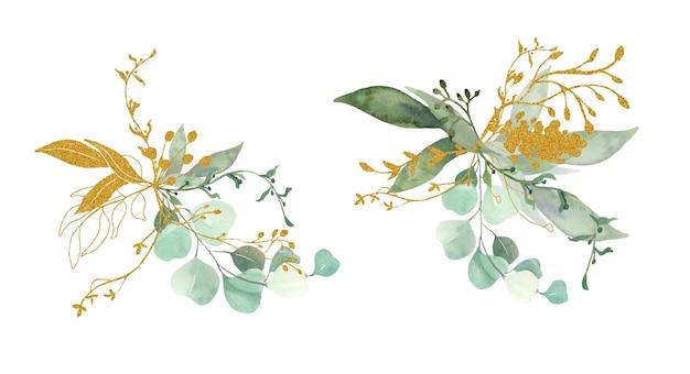 Collezione di bouquet di foglie verdi e oro.