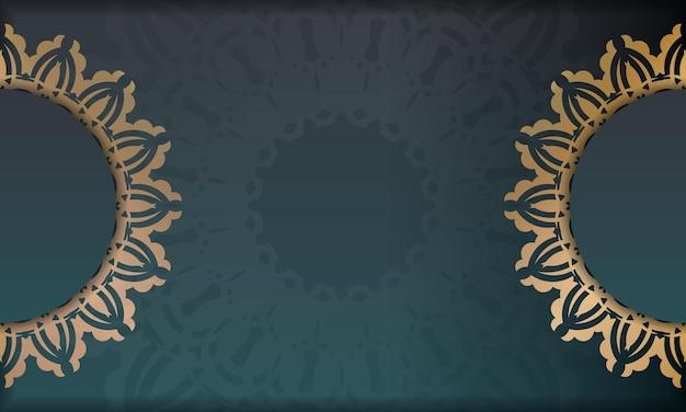 Banner sfumato verde con ornamento in oro indiano per il design sotto il tuo logo o testo