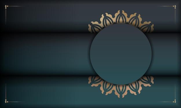 Banner sfumato verde con ornamenti in oro di lusso per il design sotto il tuo logo o testo