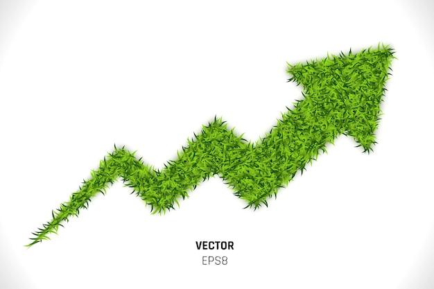 Illustrazione 3d della freccia dell'erba verde