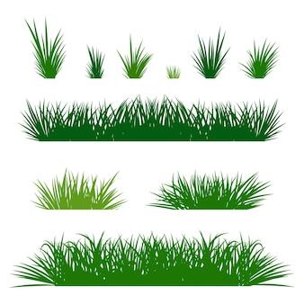 Insieme del fumetto del confine dell'erba verde isolato