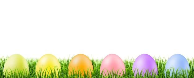 Bordo di erba verde con le uova di pasqua