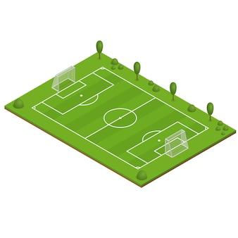 Campo di calcio in erba verde. vista isometrica.