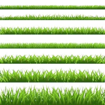Set di erba verde, isolato su sfondo bianco.